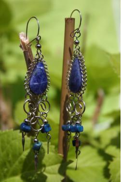 Boucles d'oreilles Warmi - lapis-lazuli.