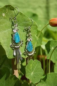 Boucles d'oreilles fait main en pierre turquoise